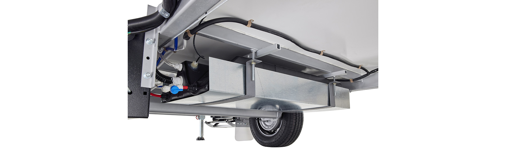 Independent torsion beam suspension keeps your van planted firmly on the road. A 65 Ltr water tank for your toilet & shower.