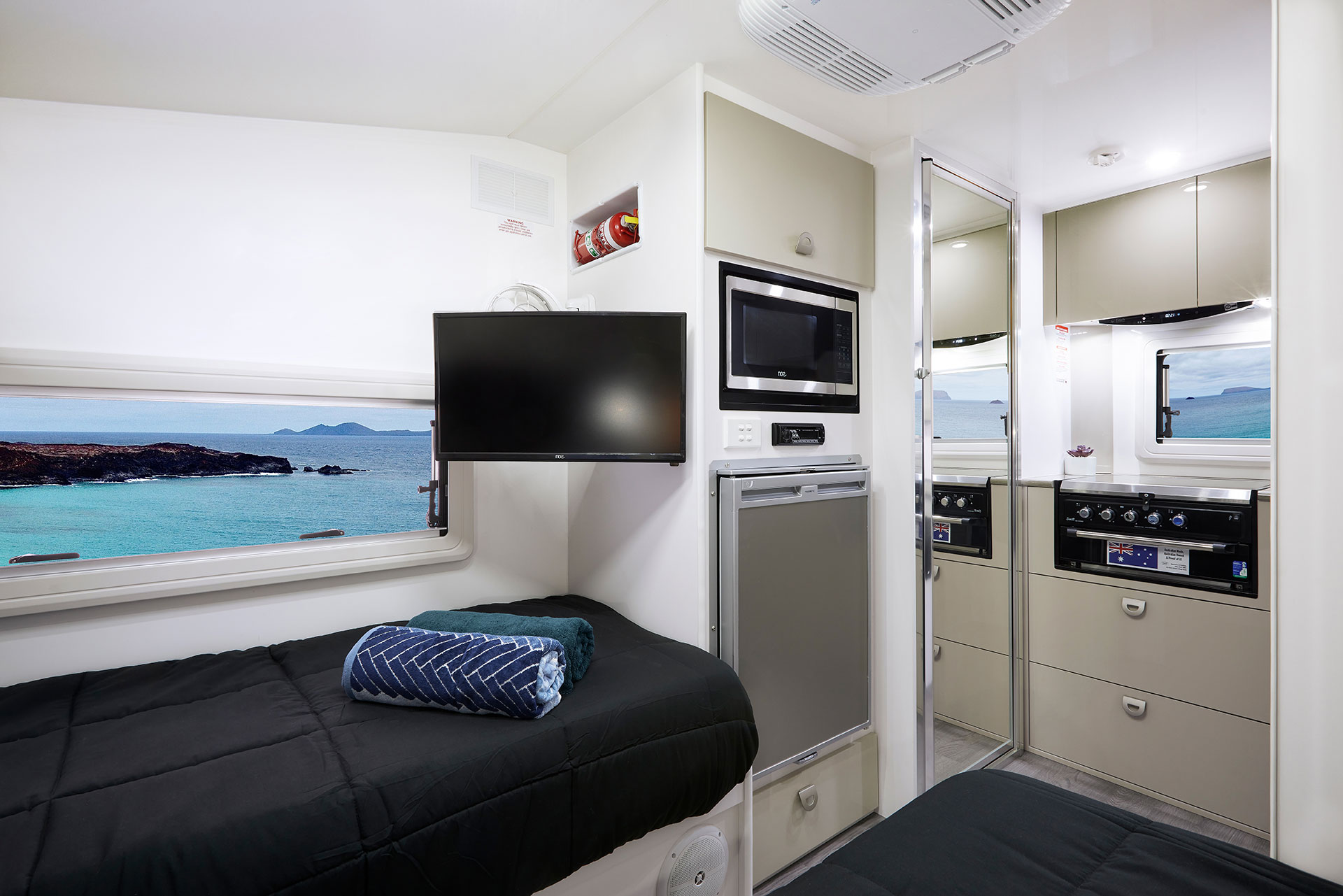 Everything you need for a comfortable trip away, including TV, Microwave, Fridge, Kitchen, and Ensuite.
