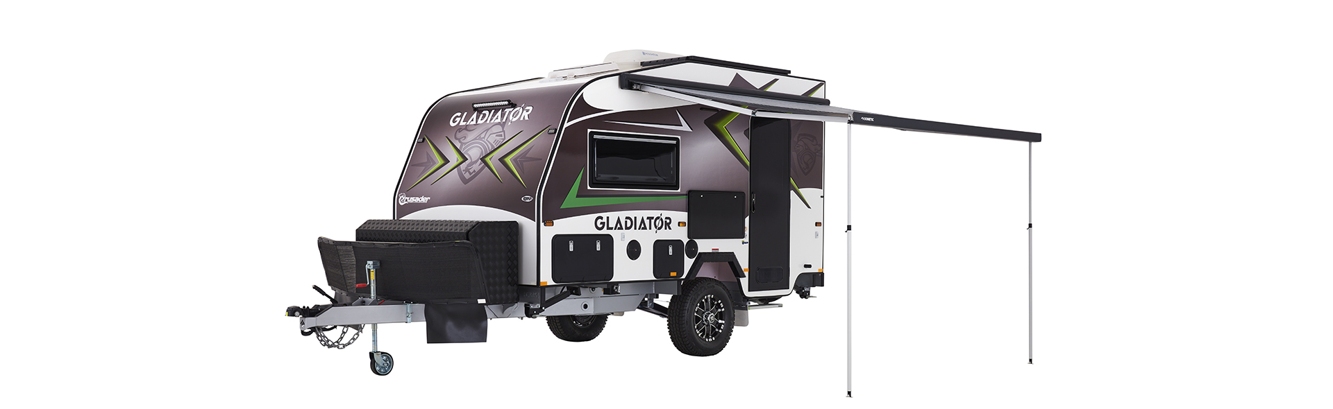 Enjoy the great outdoors under the Gladiator's 3.5 metre wind out awning.
